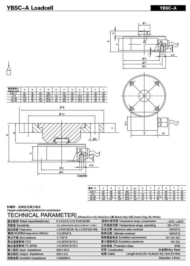 Loadcell 500kg-2000kg Keli YBSC-A