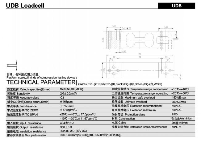 Loadcell 15kg-300kg Keli UDB